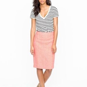 J. Crew pink tweed pencil skirt